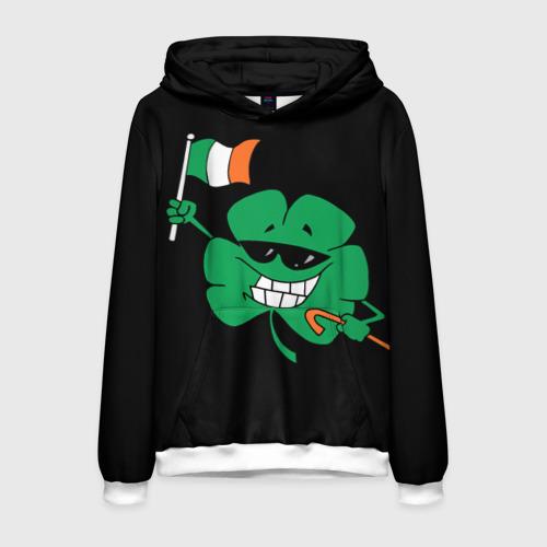 Мужская толстовка 3D Ирландия, клевер с флагом