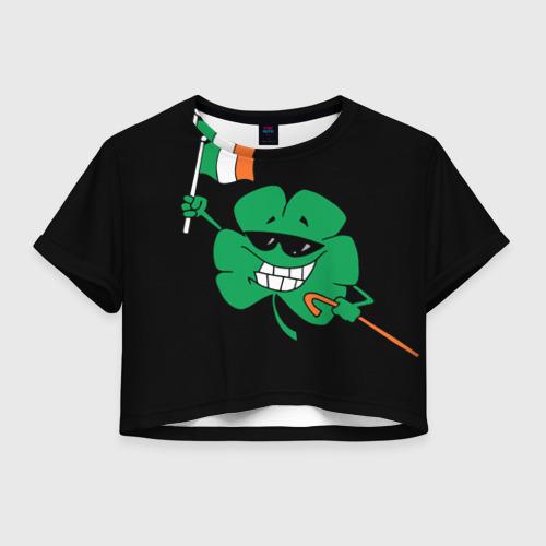 Женская футболка Crop-top 3D Ирландия, клевер с флагом