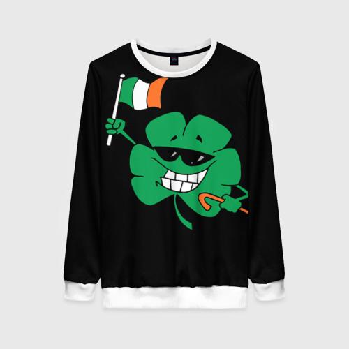Женский свитшот 3D Ирландия, клевер с флагом