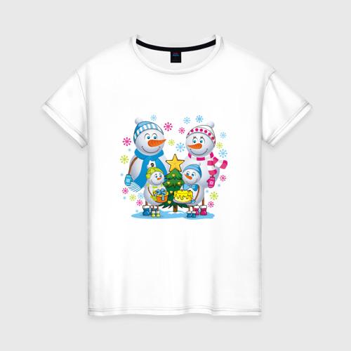 Женская футболка хлопок Снеговики. Семья. Рождество.