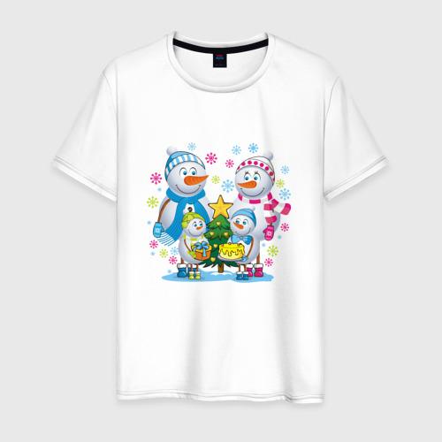 Мужская футболка хлопок Снеговики. Семья. Рождество.