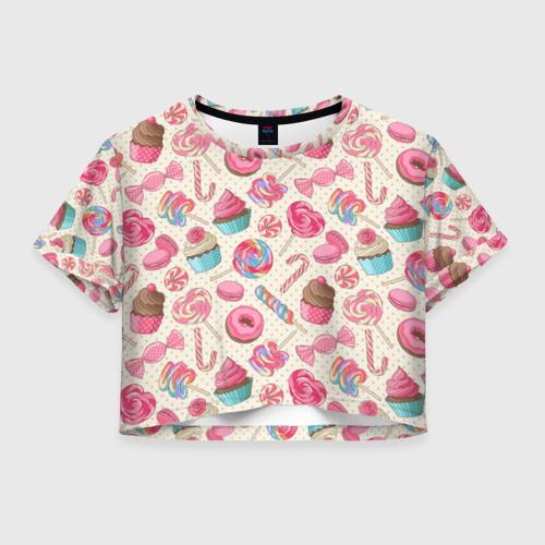 Женская футболка Crop-top 3D Радости и сладости