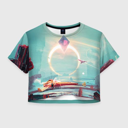 Женская футболка Crop-top 3D No Man's Sky 2
