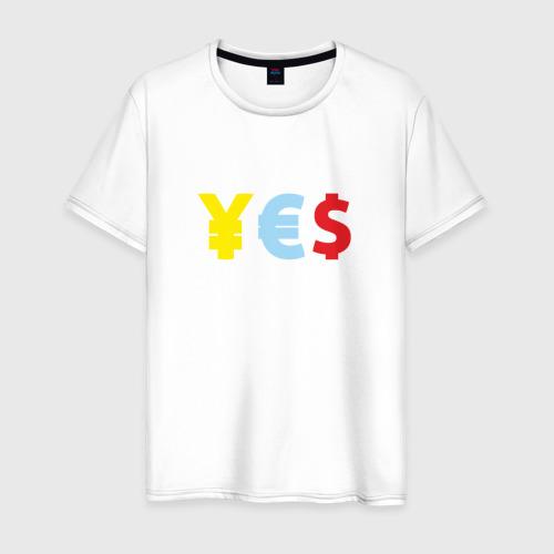 Мужская футболка хлопок YES! йена, доллар, евро