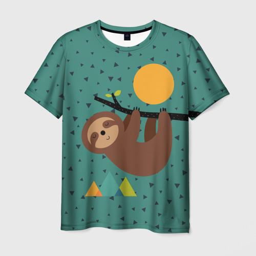 Мужская футболка 3D Довольный ленивец
