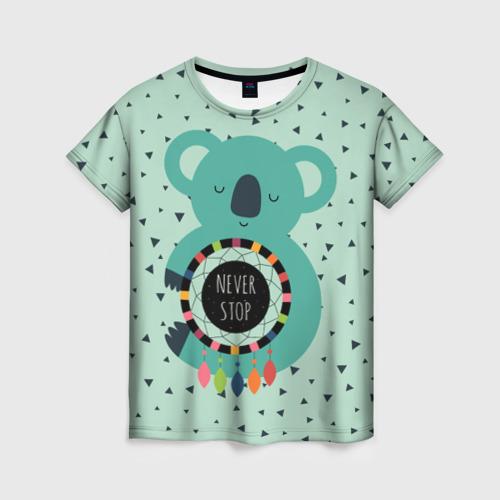 Женская футболка 3D Мечтающая коала