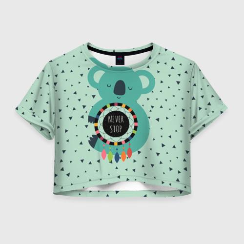 Женская футболка Crop-top 3D Мечтающая коала