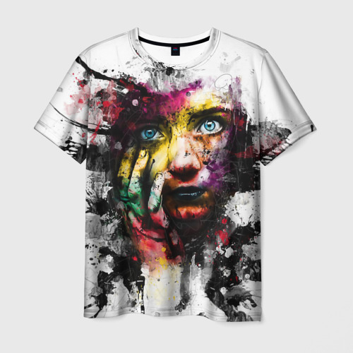 Мужская футболка 3D Портрет девушки