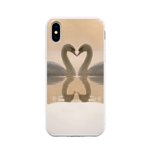 Чехол для iPhone X матовый лебеди