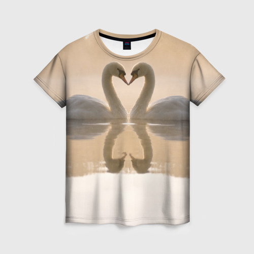 Женская футболка 3D лебеди
