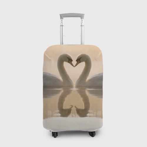 Чехол для чемодана 3D лебеди