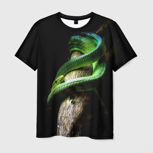 Мужская футболка 3D Змея на груди