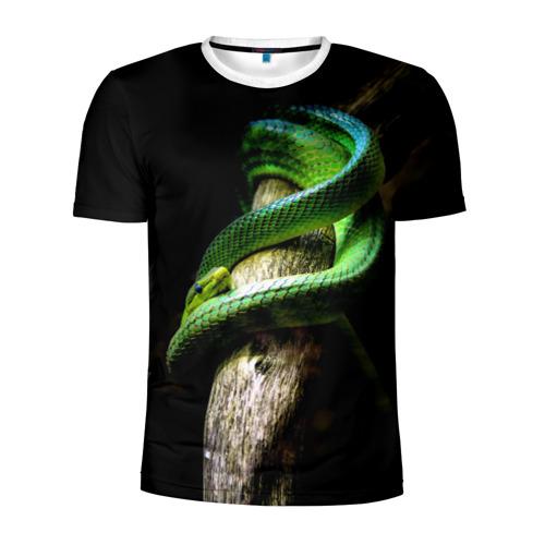 Мужская футболка 3D спортивная Змея на груди