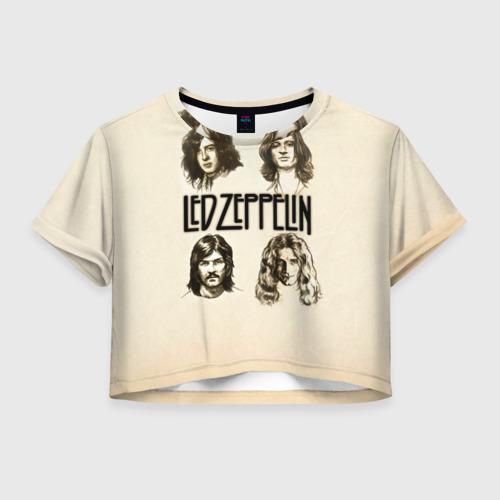 Женская футболка Crop-top 3D Led Zeppelin 1