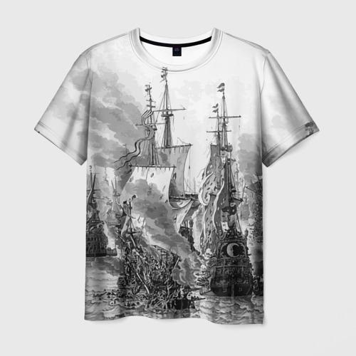 Мужская футболка 3D Морской бой