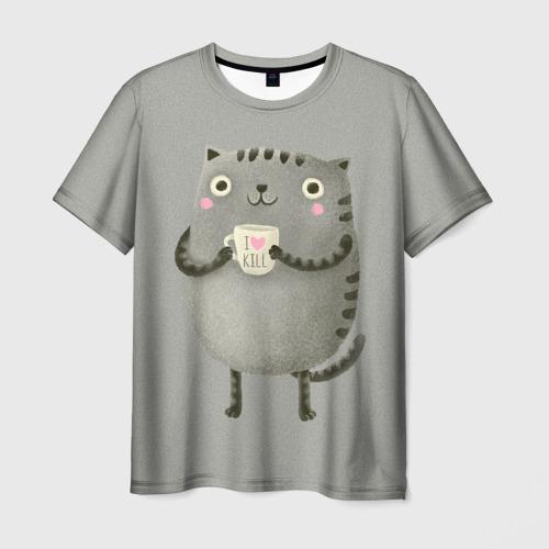 Мужская футболка 3D Cat Love Kill