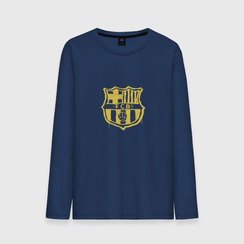 Мужской лонгслив хлопок FC Barcelona - Yellow Paint (Оригинальный стиль,рисунок краской)
