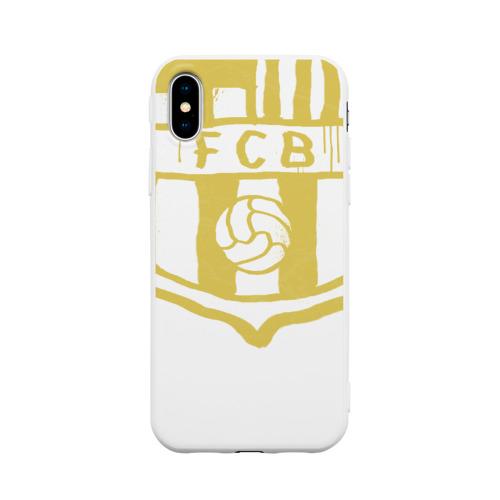 Чехол для iPhone X матовый FC Barcelona - Yellow Paint (Оригинальный стиль,рисунок краской)