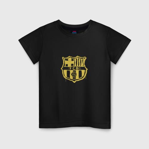 Детская футболка хлопок FC Barcelona - Yellow Paint (Оригинальный стиль,рисунок краской)
