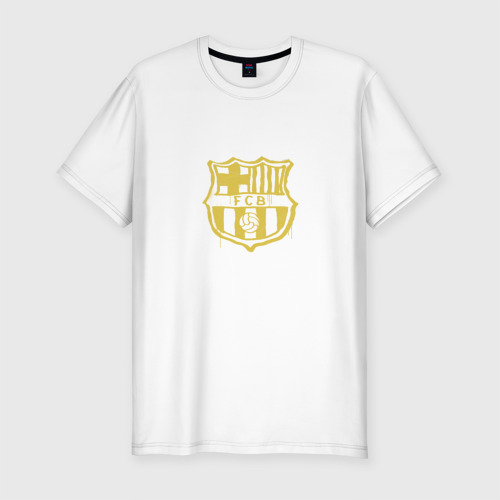 Мужская футболка хлопок Slim FC Barcelona - Yellow Paint (Оригинальный стиль,рисунок краской)