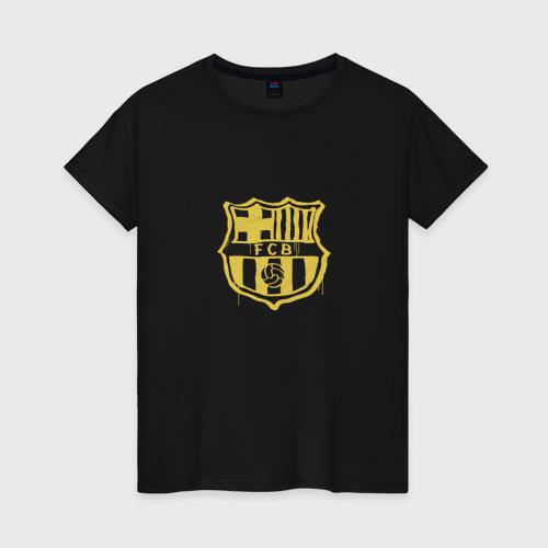 Женская футболка хлопок FC Barcelona - Yellow Paint (Оригинальный стиль,рисунок краской)