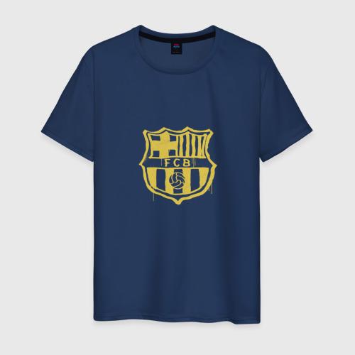 Мужская футболка хлопок FC Barcelona - Yellow Paint (Оригинальный стиль,рисунок краской)
