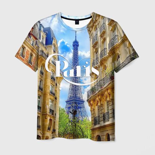 Мужская футболка 3D Париж, Эйфелева башня