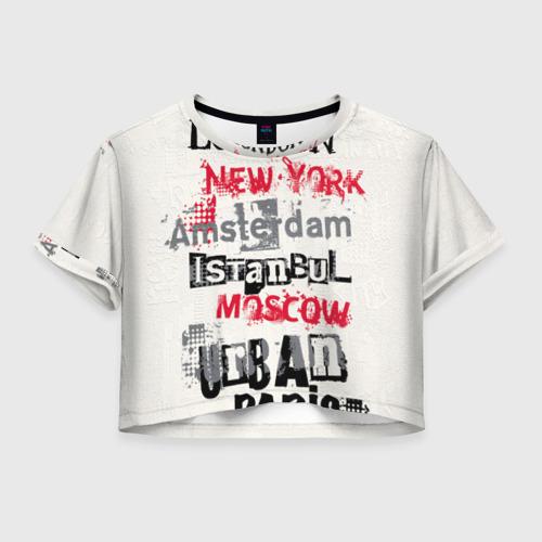 Женская футболка Crop-top 3D Города