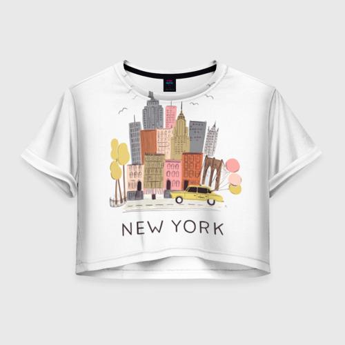 Женская футболка Crop-top 3D Нью-Йорк