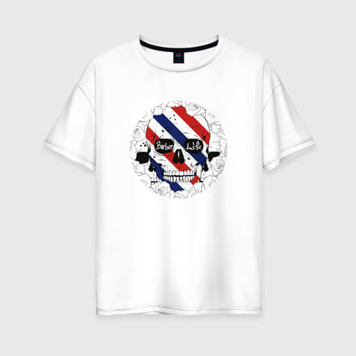 Женская футболка хлопок Oversize Барбер Лайф  Barber Life