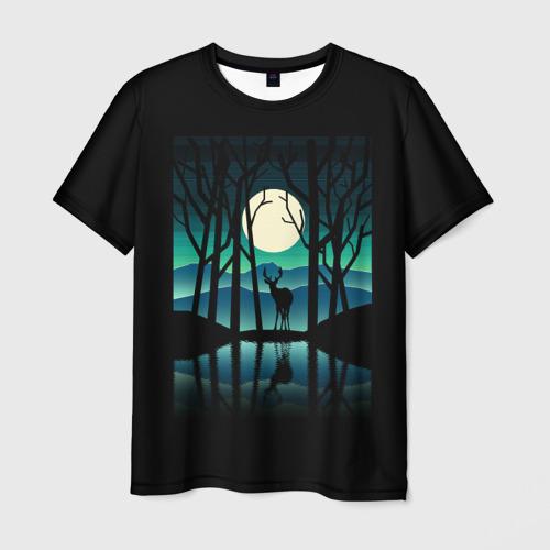 Мужская футболка 3D Ночная природа