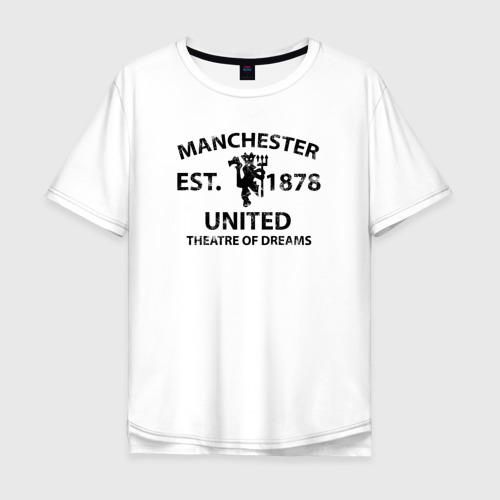 Мужская футболка хлопок Oversize Manchester United - Est.1878 (Чёрный)