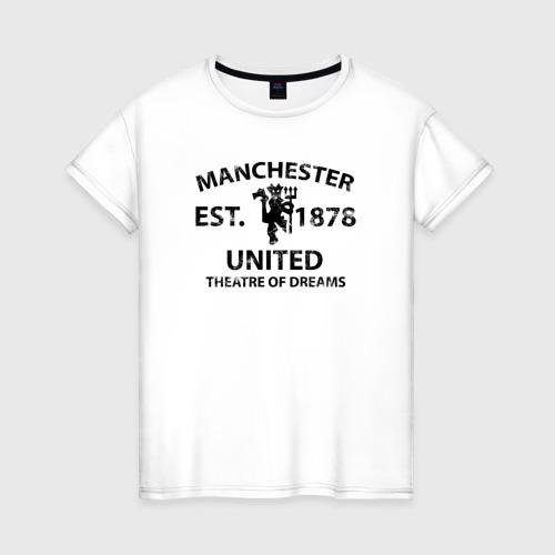 Женская футболка хлопок Manchester United - Est.1878 (Чёрный)