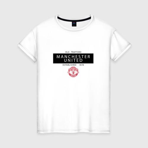 Женская футболка хлопок Manchester United - Established 1878 (чёрный)