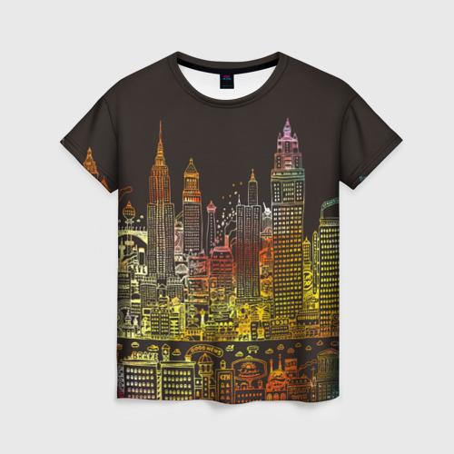 Женская футболка 3D Мегапполис