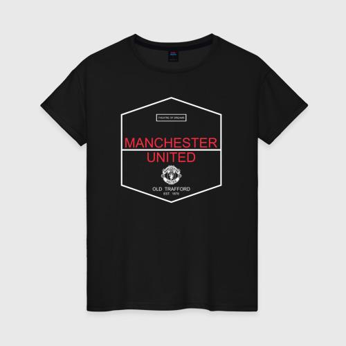 Женская футболка хлопок Manchester United - Old Trafford (белый рисунок)