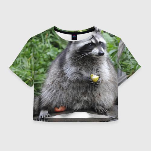 Женская футболка Crop-top 3D Енот обжора