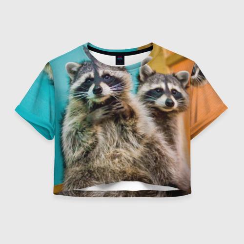 Женская футболка Crop-top 3D Еноты