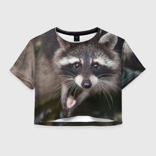 Женская футболка Crop-top 3D Енот попрошайка