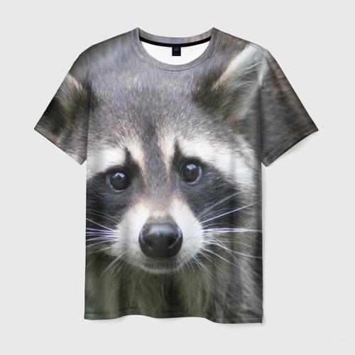 Мужская футболка 3D Озадаченный енот