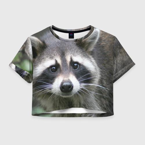 Женская футболка Crop-top 3D Озадаченный енот