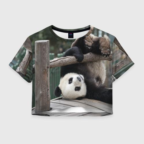 Женская футболка Crop-top 3D Паркур панда