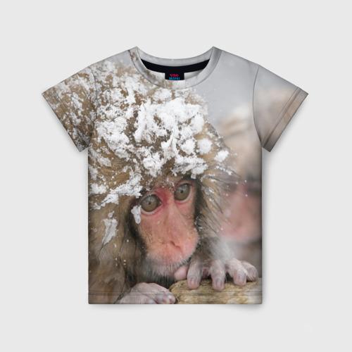 Детская футболка 3D Обезьянка и зима