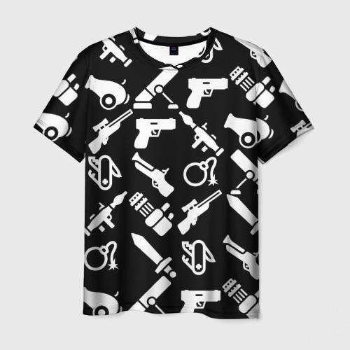 Мужская футболка 3D Оружие черный микс