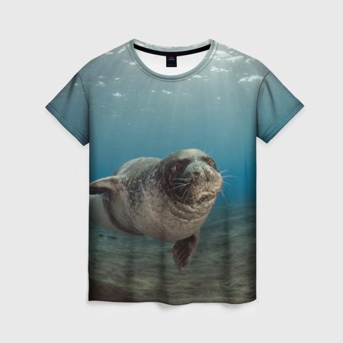 Женская футболка 3D Тюлень под водой