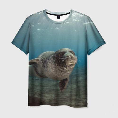Мужская футболка 3D Тюлень под водой