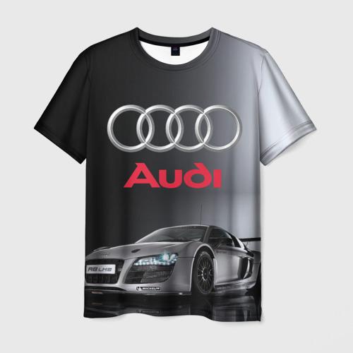 Мужская футболка 3D Серебристая Ауди