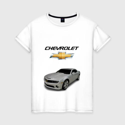 Женская футболка хлопок Chevrolet серебро