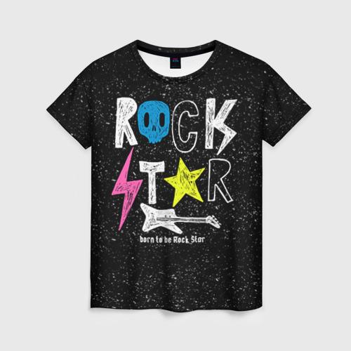 Женская футболка 3D Рождён быть рок-звездой