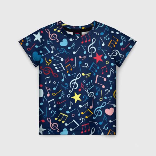 Детская футболка 3D Ноты